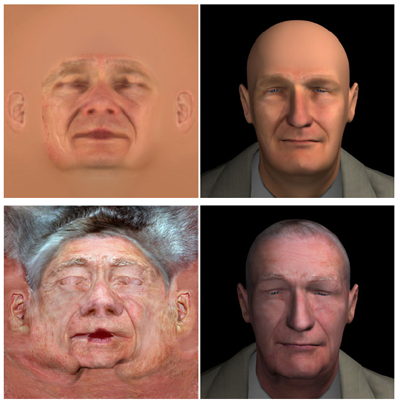Skin Texture Enhancement. Top: default, Bottom: acquired by projecting high quality photos of a target person onto 3D mesh model