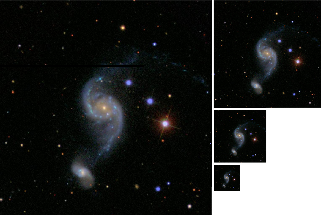 Four decreasing level-of-detail versions of a sky image tile (for demonstration purposes, an SDSS image).