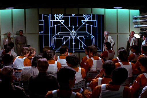 Rebels' Death Star attack briefing in the 1977 film